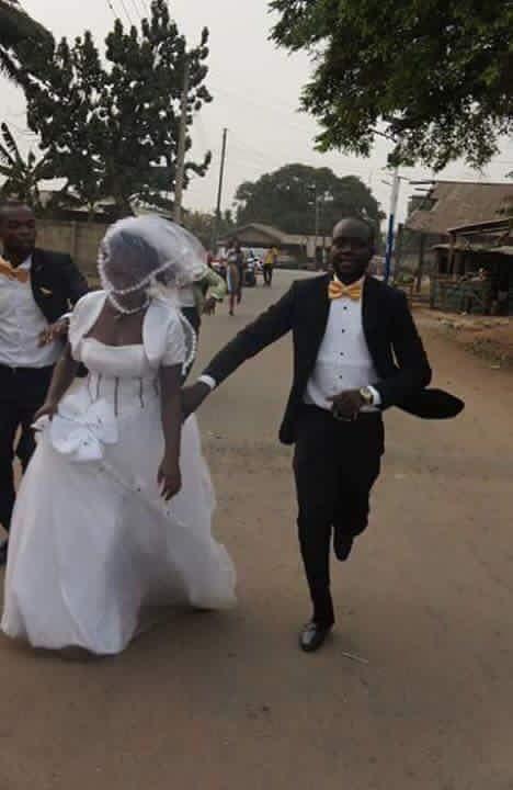 Bride runs out of church