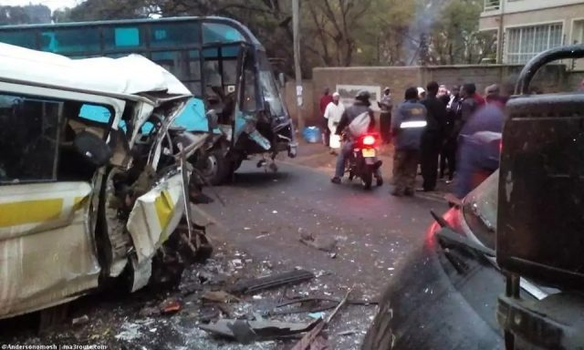 KBS bus rams in to a matatu in Nairobi killing one on the spot and injuring several