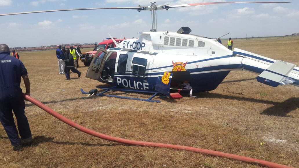 Kenya Police chopper crash lands at Wilson Airport during training 3