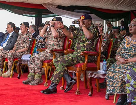 Uhuru Kenyatta with Majesty King Abdullah II of Jordan witnessing a joint military training exercise between the Kenya Defence Forces and the Royal Jordanian Armed Forces at Embakasi Garrison
