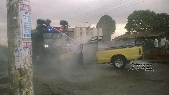 Vehicle Set Ablaze During ODM Rally in Mathare