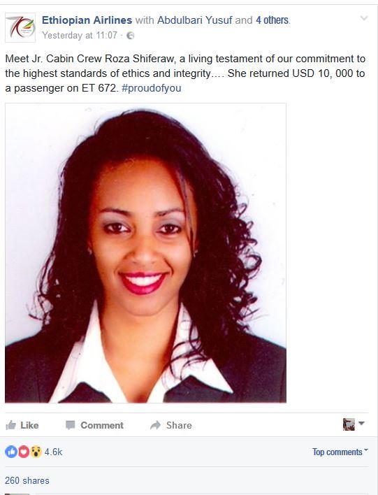 Ethiopian Airlines hostess who returned Sh1m to passenger