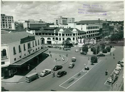 A Viewing Of The piccadilly Circus Of Nairobi, Where Hardinge Street Joined Delamere Avenue With The New Stanley Hotel In The Center In 1956