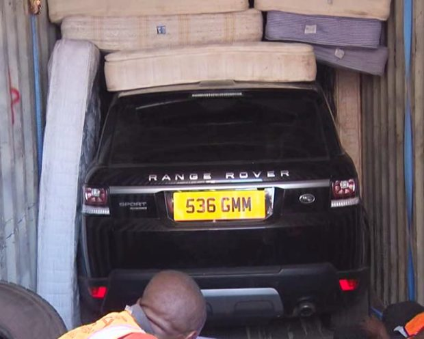KRA Seizes Containers Carrying Range Rovers covered with mattresses