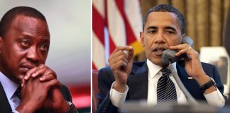 USA Prosident Barack Obama on Phone call with Kenya President Uhuru Kenyatta