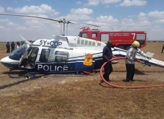 Kenya Police chopper crash lands at Wilson Airport during training
