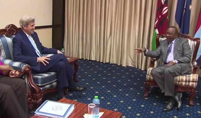 US Secretary of State John Kerry and Uhuru Kenyatta in Statehouse Nairobi 2016