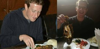 Mark Zuckerberg at Mama Oliech's - Nairobi eating fish and Ugali
