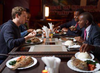 Mark Zuckerberg at Mama Oliech's - Nairobi eating fish