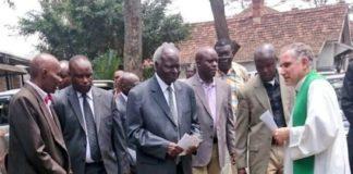 Former President Mwai Kibaki attends Sunday service after undergoing operation