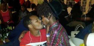Sleepy David kissing Papa Shirandula Actress Awinja