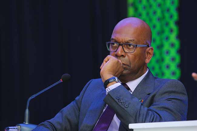 Safaricom CEO, Bob Collymore follows the proceedings at the release of Safaricom Financial Year 2017, at the Michael Joseph Center.