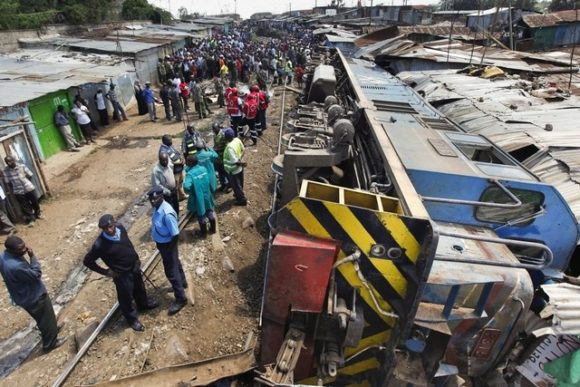 train derails Donholm Syokimau Nairobi