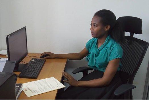 lady brandishing placards in Nairobi gets a job