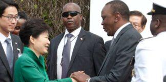 South Korea President Park Geun-hye with President Uhuru Kenyatta at State House Nairobi