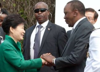 South Korea President Park Geun-hye with President Uhuru Kenyatta at State House Nairobi