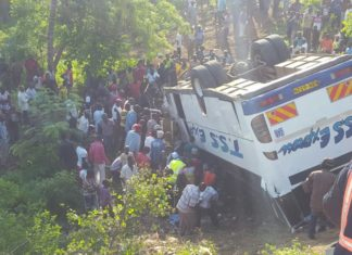 TSS Bus from Nairobi to Mombasa involved in an accident at Bonje
