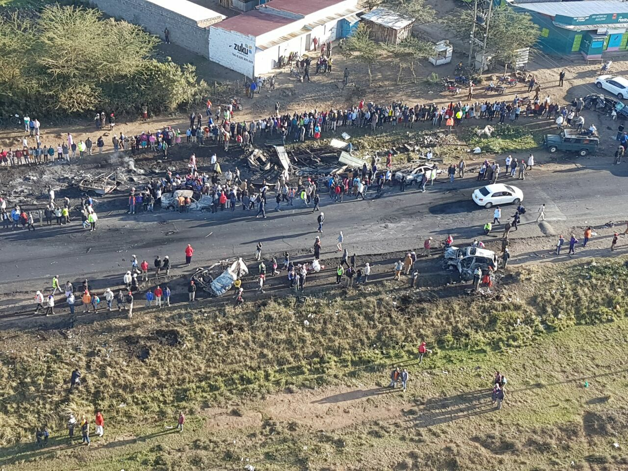 Tanker Accident along Nairobi-Naivasha Highway Areial Photo