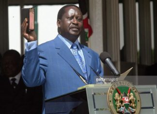 Raila Odinga taking oath of office