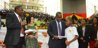 Cabinet Secretary of Education, Dr. Fred Matiang'i and Equity Bank Fred Matiangi 2017 Wings To Fly beneficiaries.