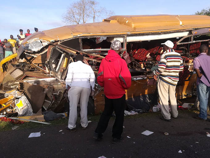 Malindi bound bus crashes with tanker, 26 dead as bus and tanker crash in Kambu