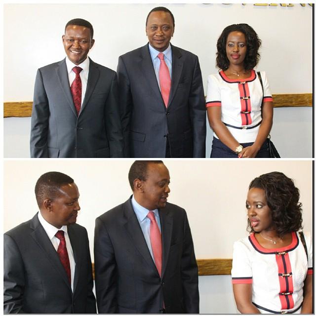 Dr. Alfred Mutua, Uhuru Kenyatta and Mutua's wife Lilian Nganga.jpg