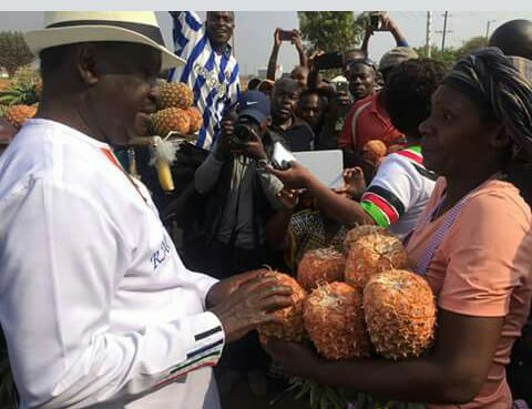 Hon Raila Odunga stopped at Gatitu in Thika to buy pineapples, he promised to empower pineapple farmers