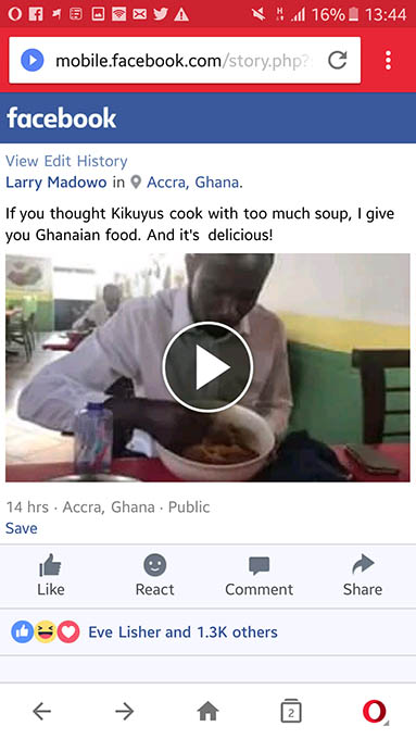 Larry Madowo eating Fufu in Ghana