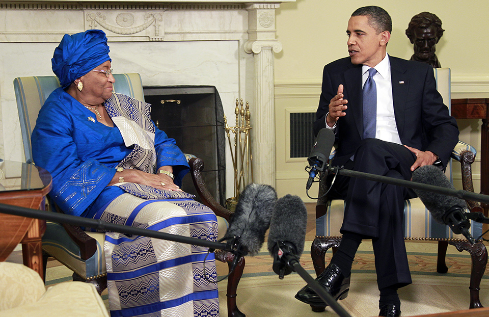 Liberia President Ellen Johnson Sirleaf and President Barack Obama