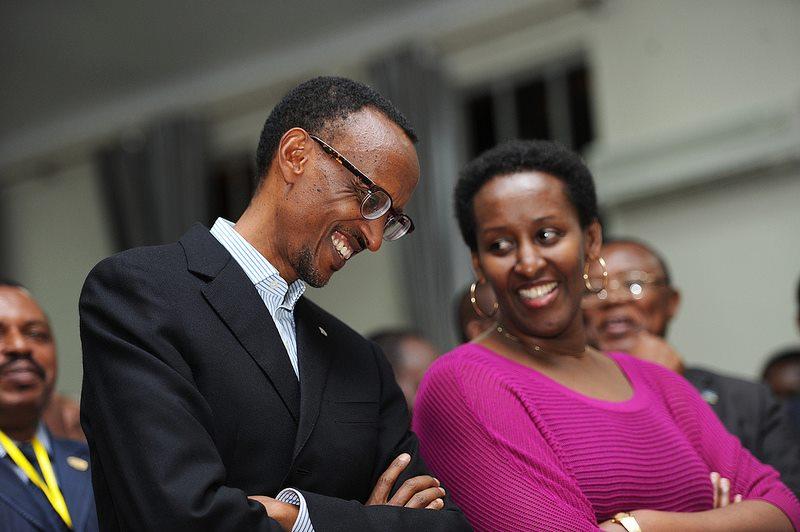 Paul Kagame and beautiful wife Mrs. Kagame Jeannette Nyiramongi
