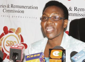 Salaries and Remuneration Commission Chairperson, Sarah Serem addressing the press at her office
