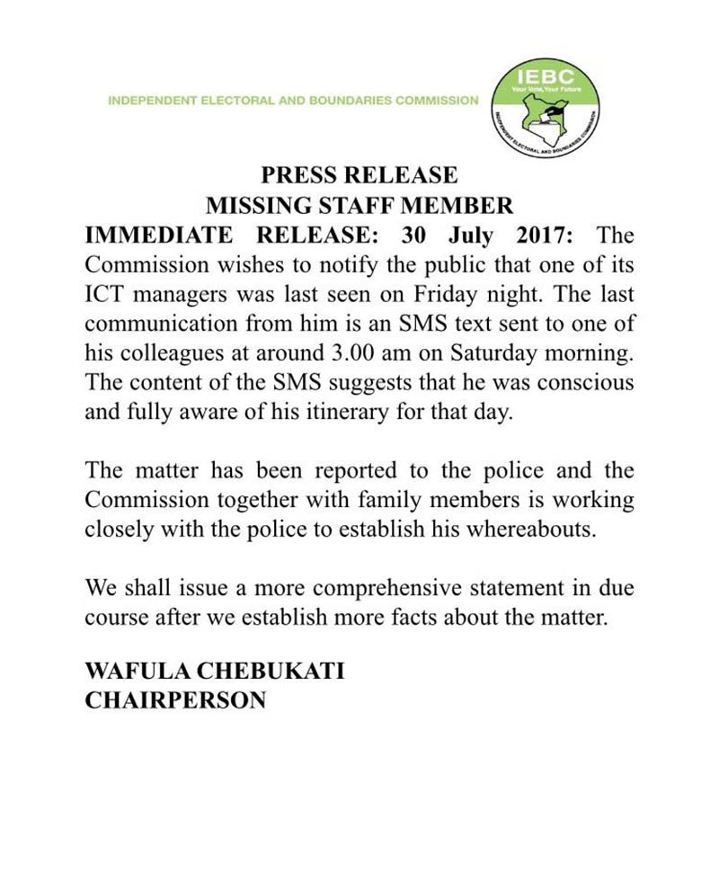 The Commission wishes to notify the public that one of its ICT Managers was last seen on Friday night. Efforts being made to trace him