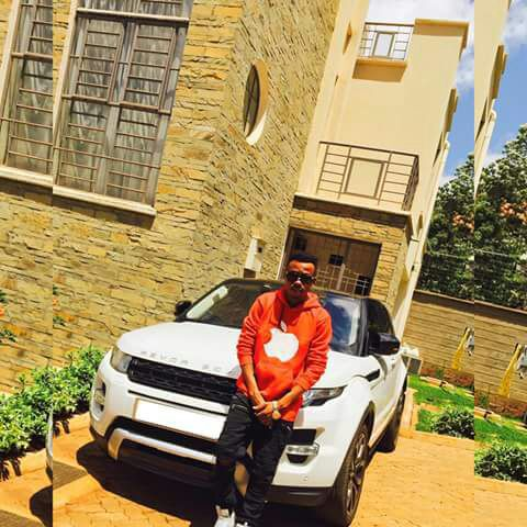 Vera Sidika Brother David Mungasia next to car