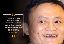 Why is Jack Ma so successful Because he never gives up