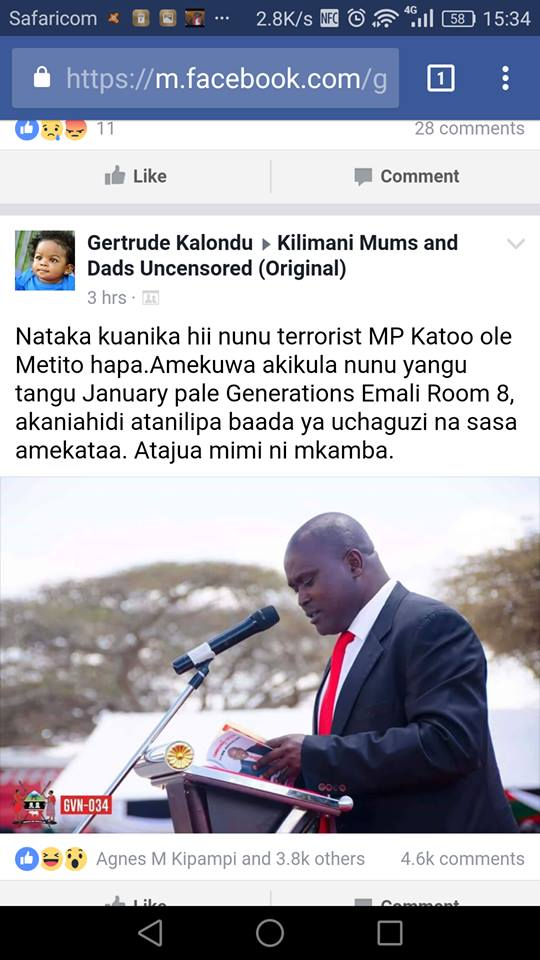 Katoo ole Metito scandal with Gertrude Kalondu