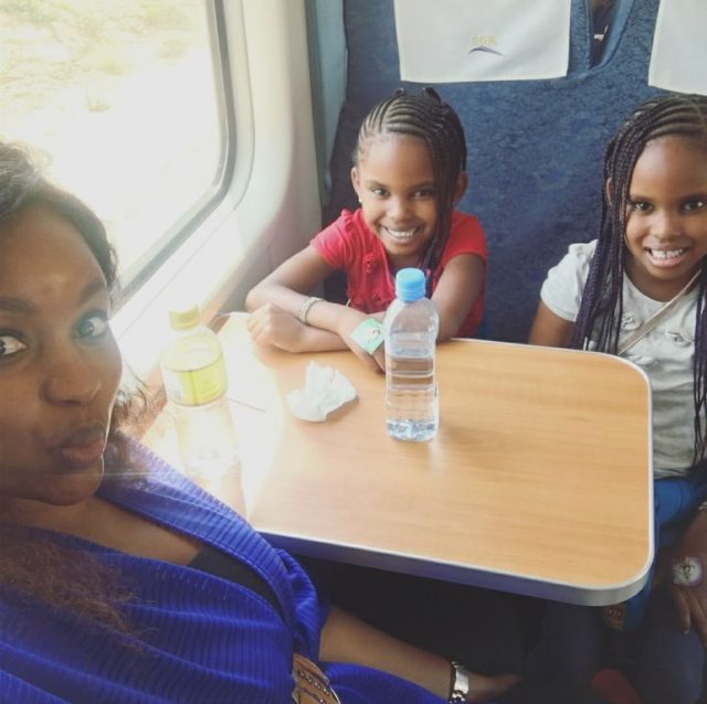 Grace Msalame with her kids on SGR