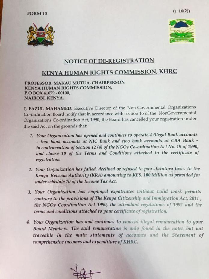 NGO Board de-registers KHRC letter