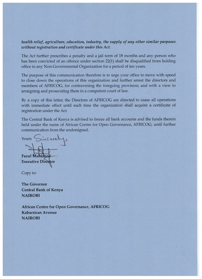 NGOs BOARD asks DCI boss Ndegwa Muhoro to shut down Africog and jail its directors for 18 months 2