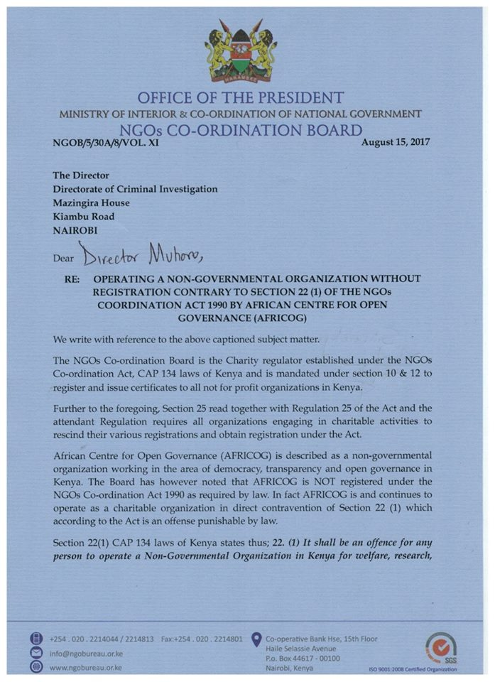 NGOs BOARD asks DCI boss Ndegwa Muhoro to shut down Africog and jail its directors for 18 months