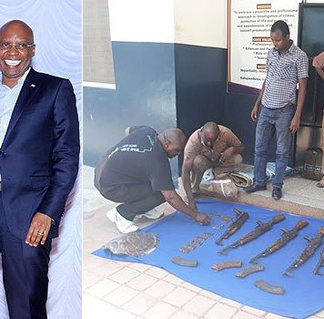 Police display the heavy firearms found in Wanjigi's house in Malindi