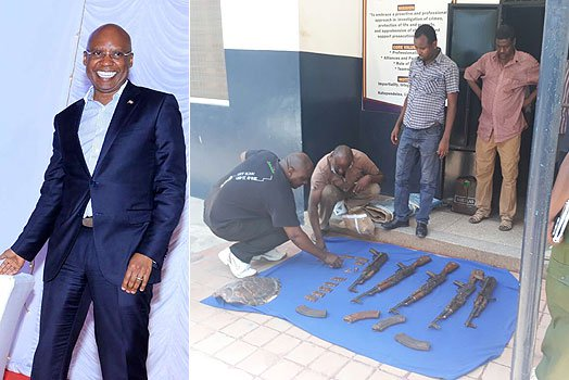 Police display the heavy firearms found in Wanjigi's house in Malindi