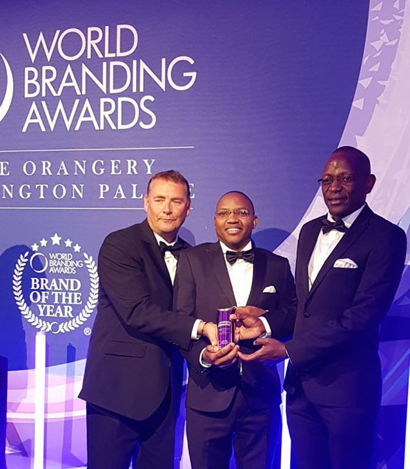 World Branding Forum Chairman Richard Rowles, Tusys CEO Dan Githua and Tuskys CFO Daniel Githumbi at Kensington Palace