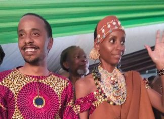 Achola Fiona Ngobi and Jomo Kenyatta during traditional wedding