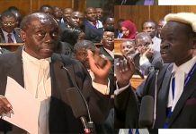Lawyers Paul Muite and PLO Lumumba