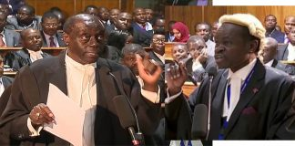 Lawyers Paul Muite and PLO Lumumba
