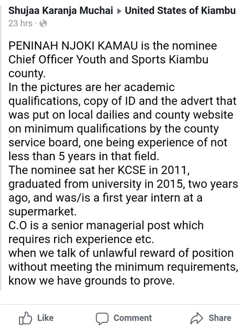 PENINAH NJOKI KAMAU is the nominee Chief Officer Youth and Sports Kiambu county