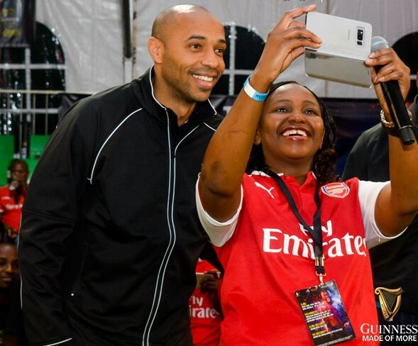 Arsenal legend Thierry Henry and Carol Radull photos