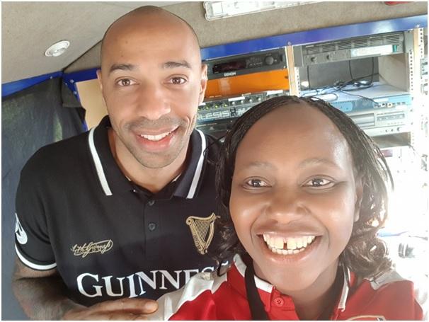 Arsenal legend Thierry Henry and Carol Radull