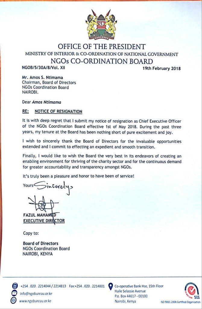 Fazul Resignation letter