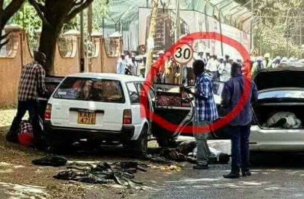 Past crime scene of flying squad officers manning a crime scene,after having gunned down suspected thugs Kenya